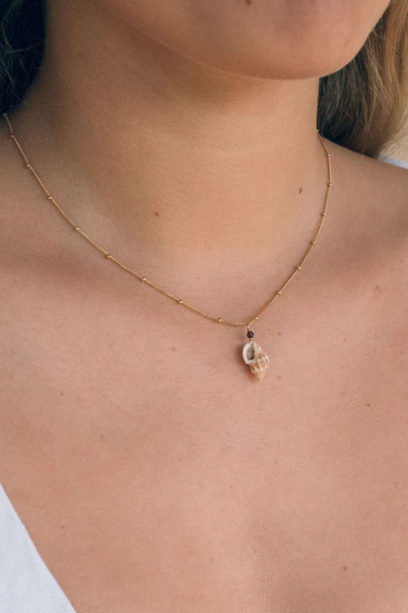 Gold Fill Cone Shell Satellite Necklace, Necklace with Garnet by Lunarsea Designs