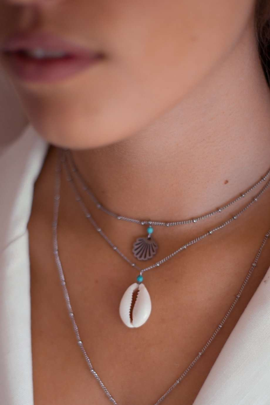 Silver Shell Drifter Satellite Chain Necklace, Necklace with  by Lunarsea Designs