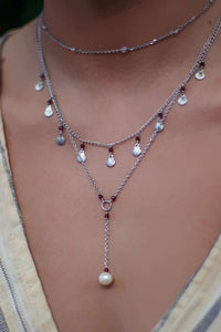 Pearl Drop Necklace, Necklace with Garnet by Lunarsea Designs