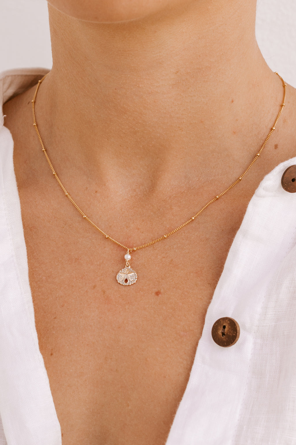 Sand Dollar Pearl Satellite Necklace  - Gold Fill