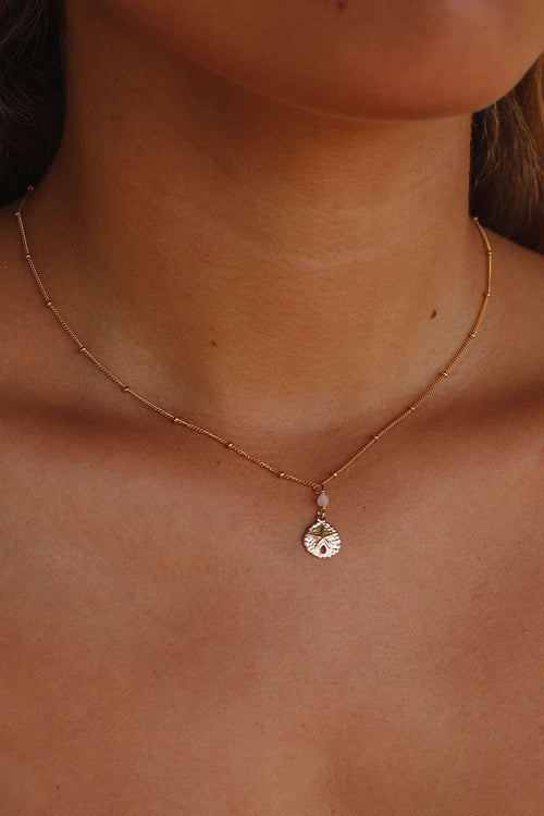 Gold Fill Sand Dollar Satellite Necklace, Necklace with Rose Quartz by Lunarsea Designs