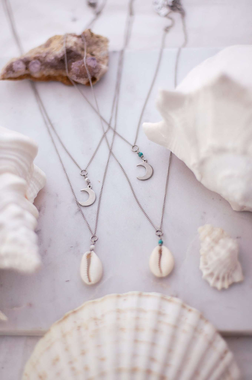 Lunarsea Cowrie + Moon Necklace set  (Stone Options)
