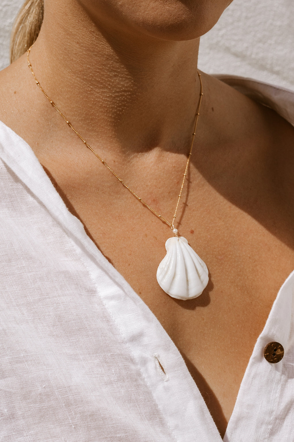 White Shell Satellite Necklace  - Gold fill
