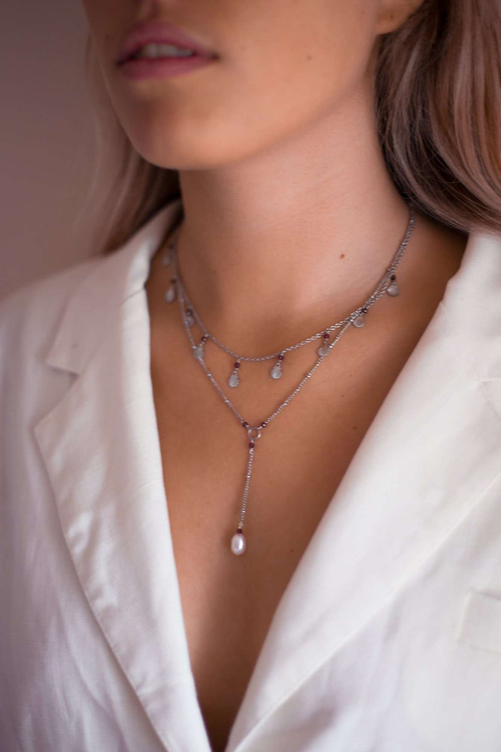 Pearl Drop Satellite Necklace, Necklace with  by Lunarsea Designs