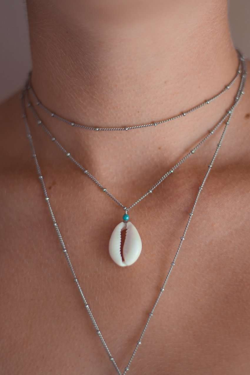 Cowrie Drifter Satellite Chain Necklace, Necklace with Turquoise by Lunarsea Designs