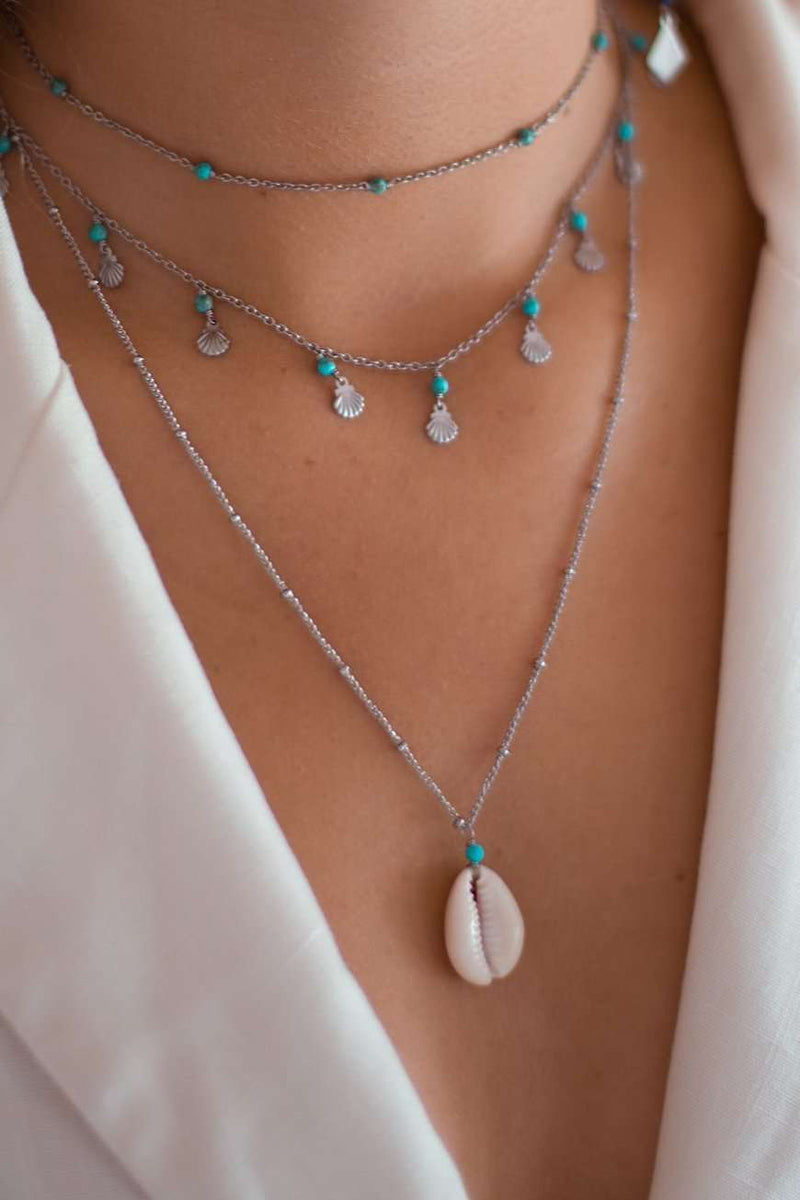 Cowrie Drifter Satellite Chain Necklace, Necklace with Turquoise Long by Lunarsea Designs