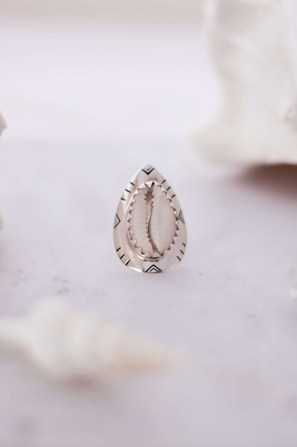 Sterling Silver Tribal Cowrie Ring