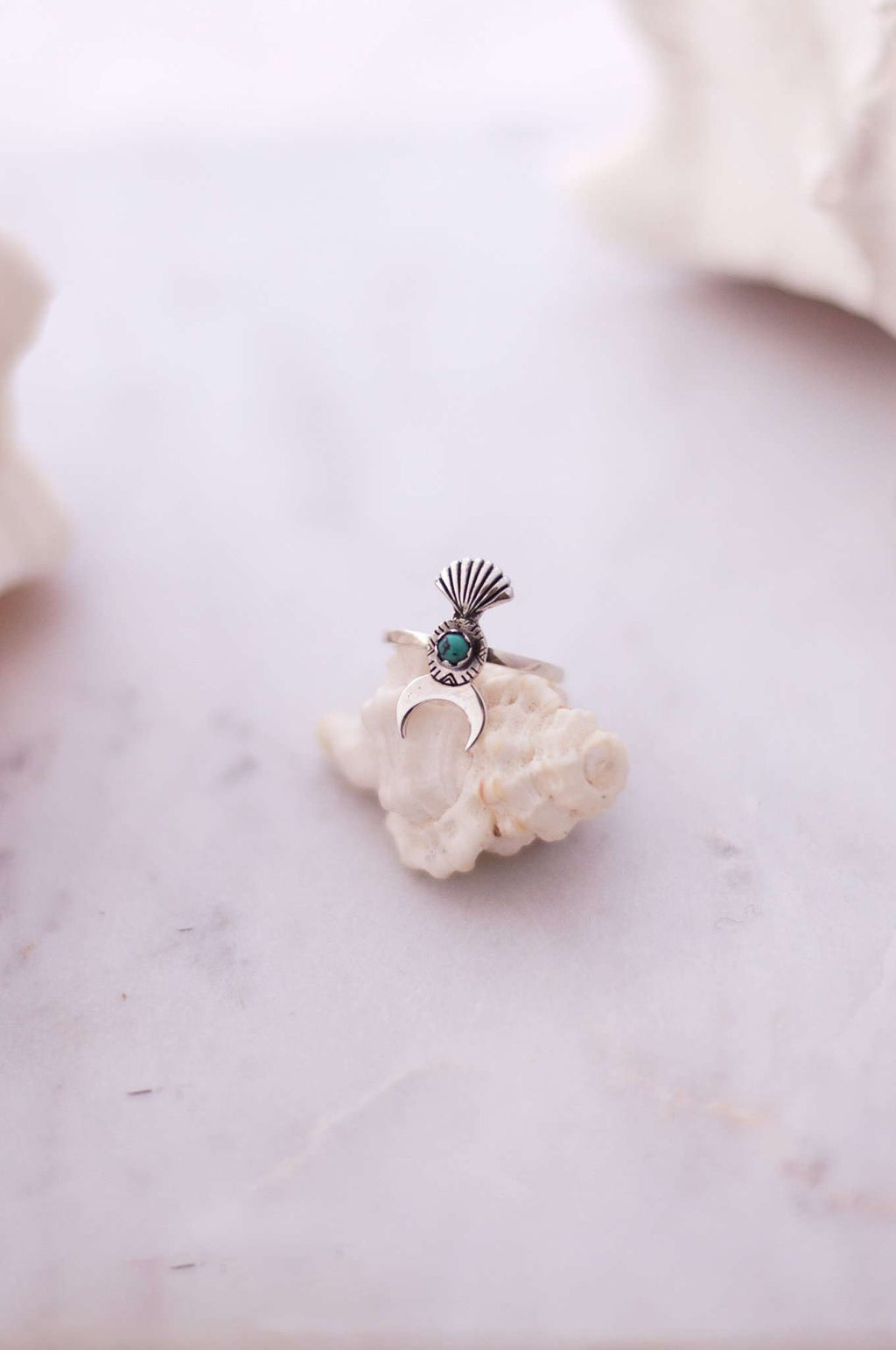 Sterling Silver Turquoise Shell Moon Ring