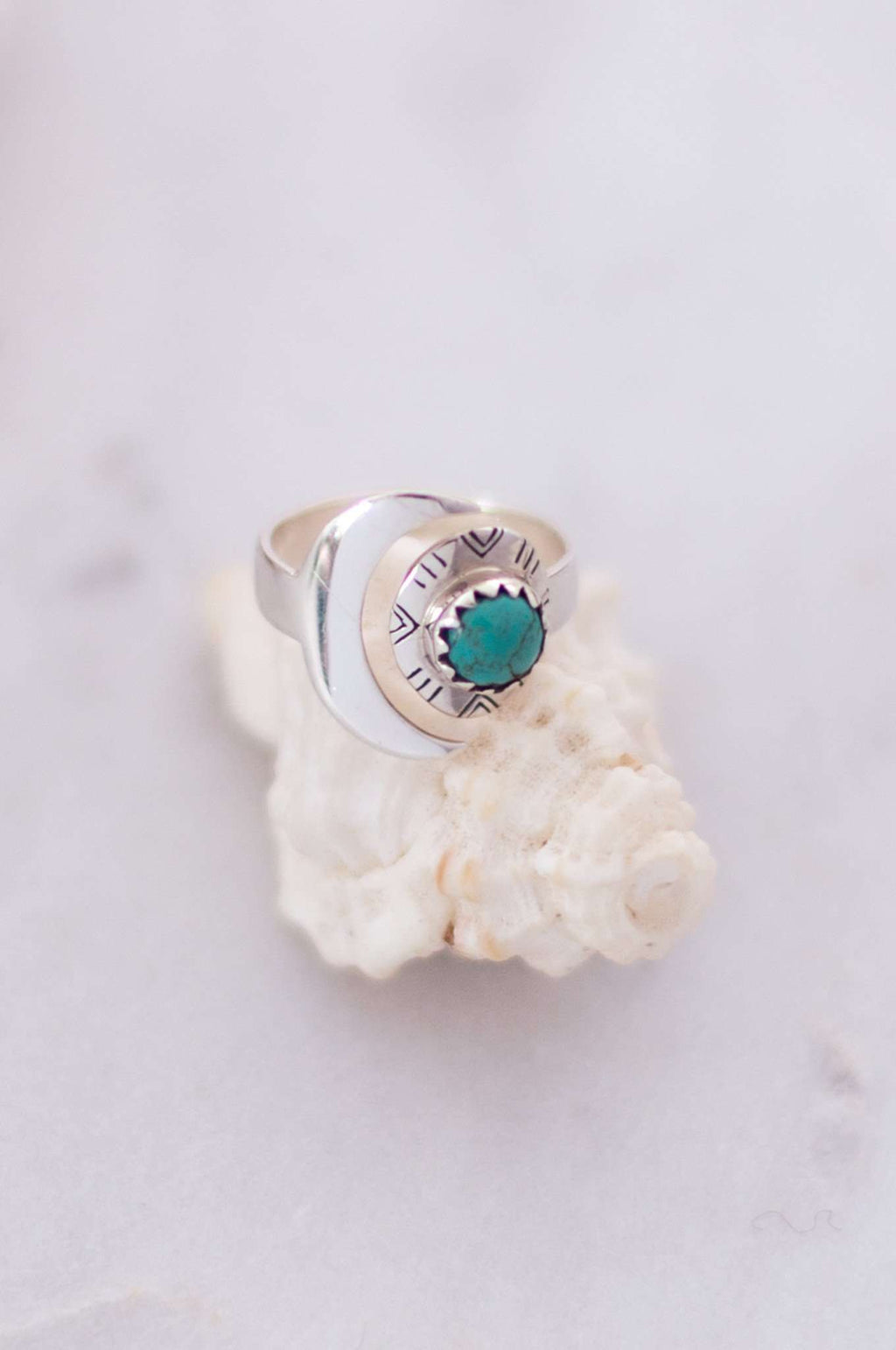 Sterling Silver Lunarsea Moon + Turquoise Ring