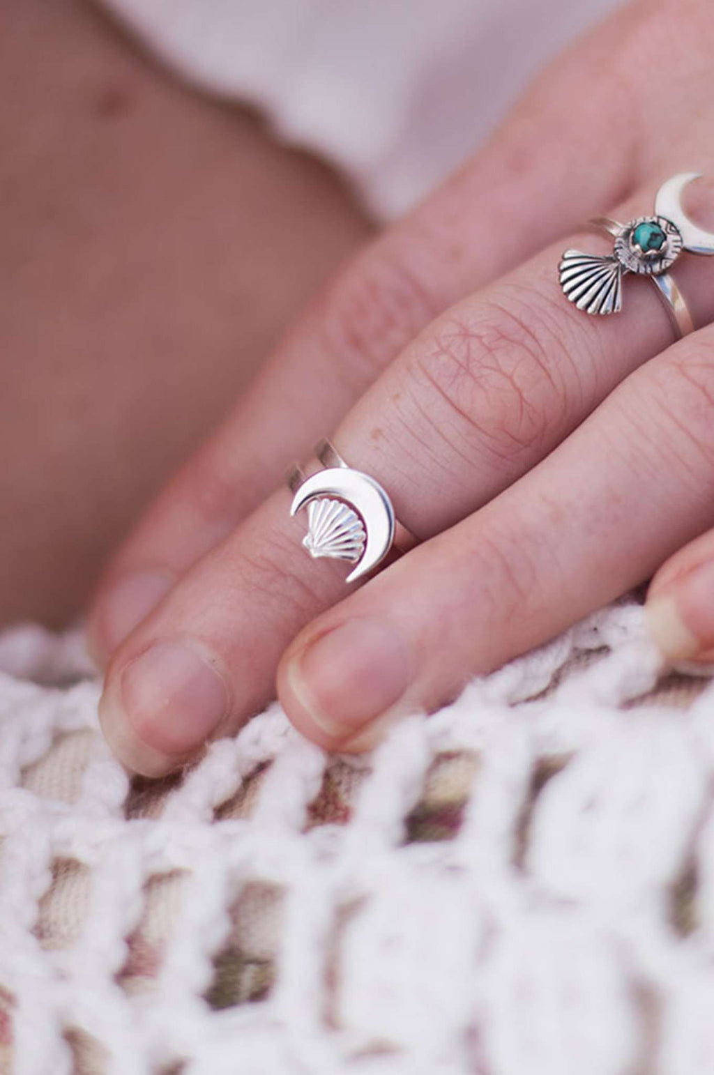 Sterling Silver Scallop + Shell Moon Ring Set