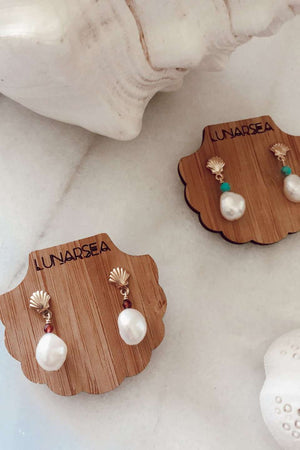 Gold Fill Shell & Pearl Studs, Earrings with  by Lunarsea Designs