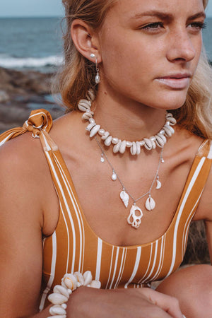 Pearl & Cowrie Choker, Necklace with  by Lunarsea Designs