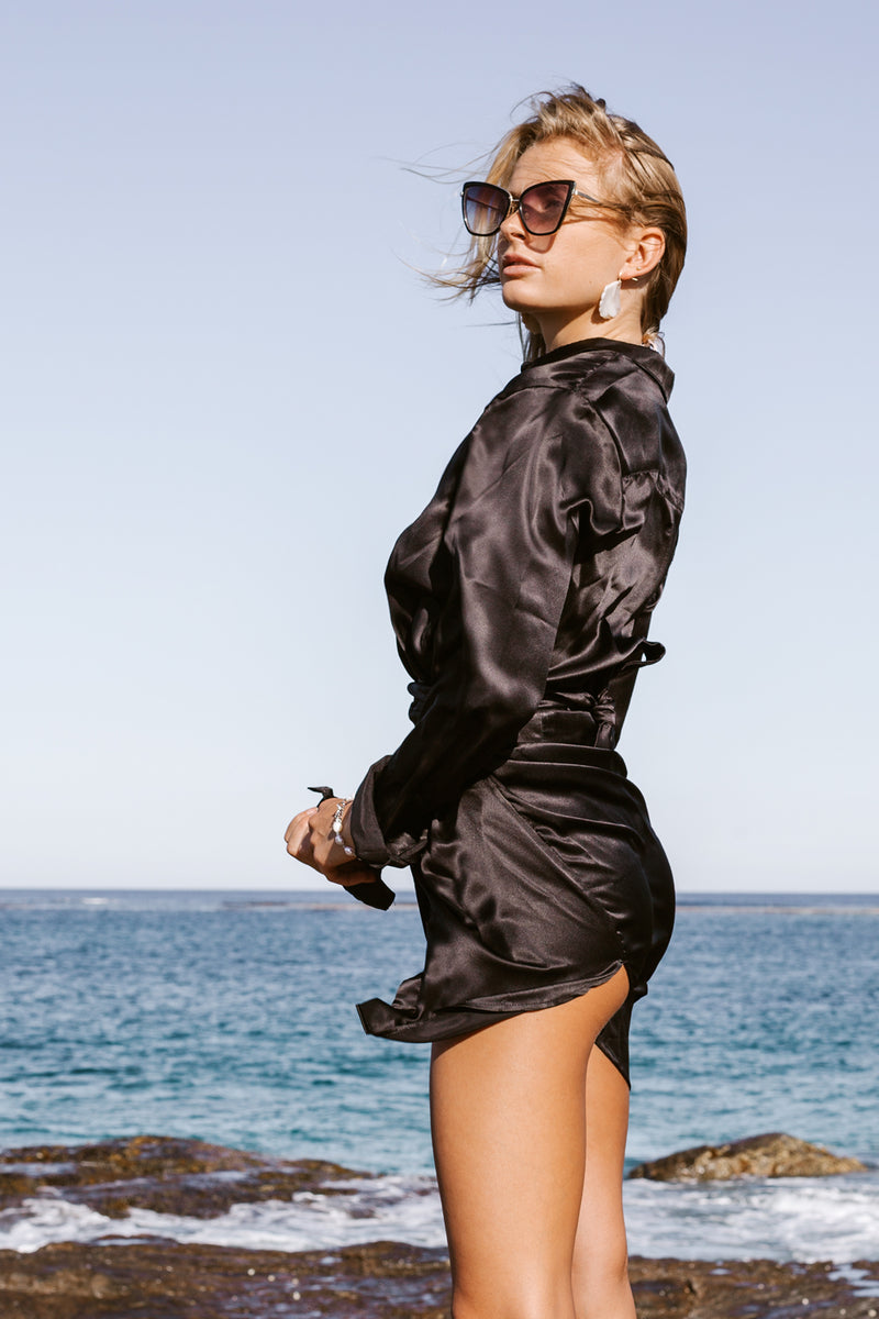 The Shirt Dress - Black Silk