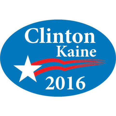 "Clinton Kaine 2016 bumper sticker label decal 6x4"" white gloss premium vinyl"