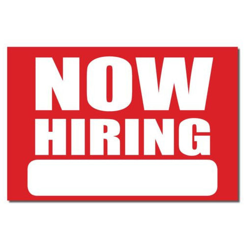Now Hiring Job Apply bumper sticker decal white matte high grade vinyl