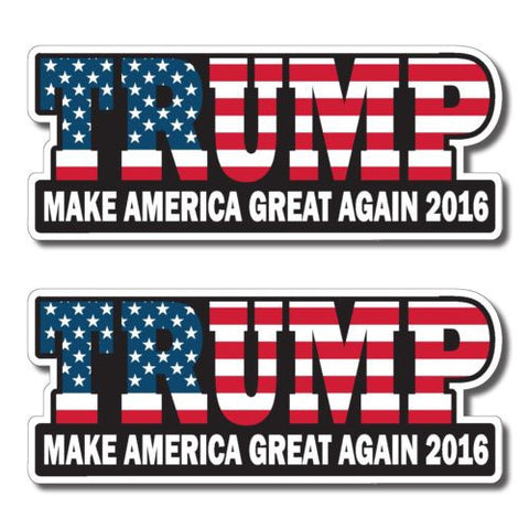 "Trump 2016 bumper sticker label decal 7x3"" white gloss premium vinyl"