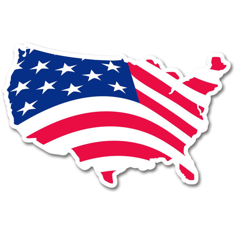 USA Map US American Flag bumper sticker decal white high grade vinyl