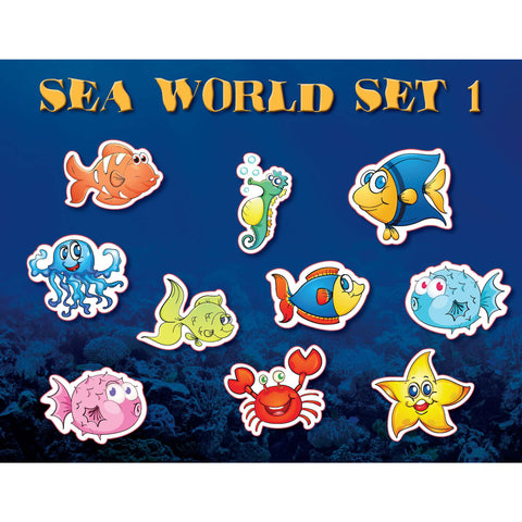 Sea World Set 1 Fish Water Ocean Underwater Kids wall decor stickers (10 count)