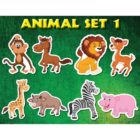 Animal Set 1 Jungle Zoo Kids wall decor stickers (8 count)