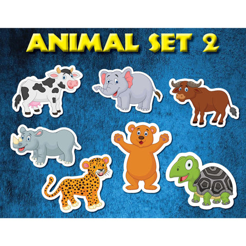 Animal Set 2 Jungle Zoo Farm Kids wall decor stickers (7 count)