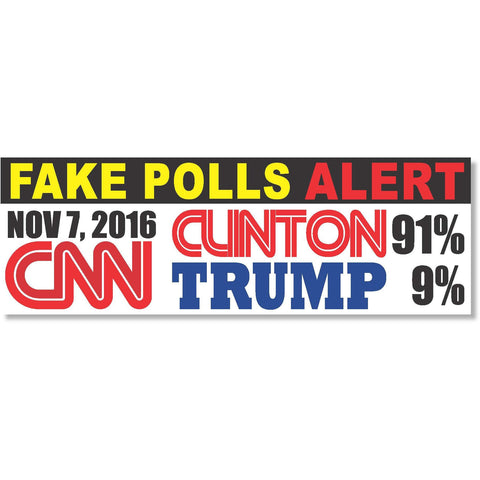 "CNN Fake Polls News President Race Trump Clinton 2016 sticker decal sticker decal 9""x3"""