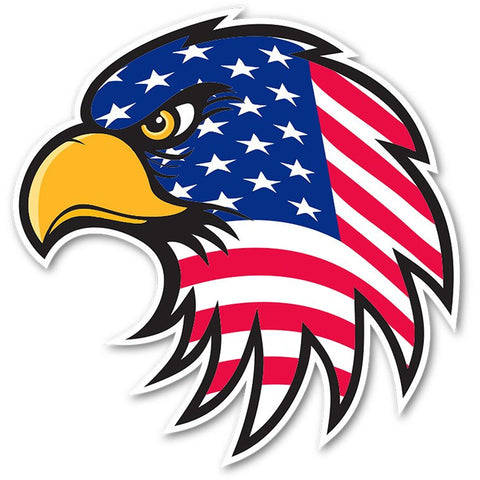 Eagle Hawk Head Patriot USA US American Flag bumper sticker decal white high grade vinyl