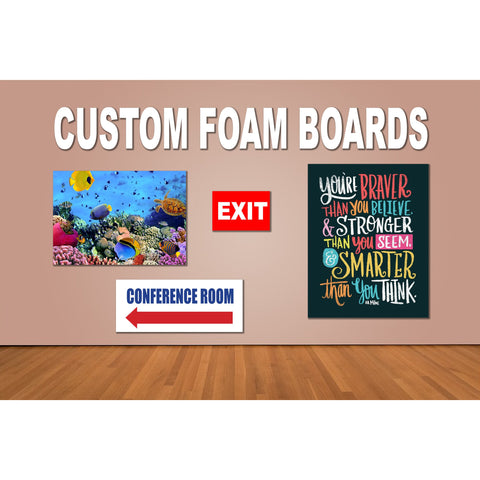 Foam Board Custom Printed Text Lettering + 4 x Double Sided Adhesive Foam Mounts