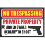 No Trespassing Second Amendment Gun Bullet Warning Property Protection Security bumper sticker