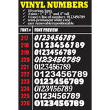 "Vinyl Numbers Text Numbering Lettering White decal sticker (max 4"" tall) sticker decal"
