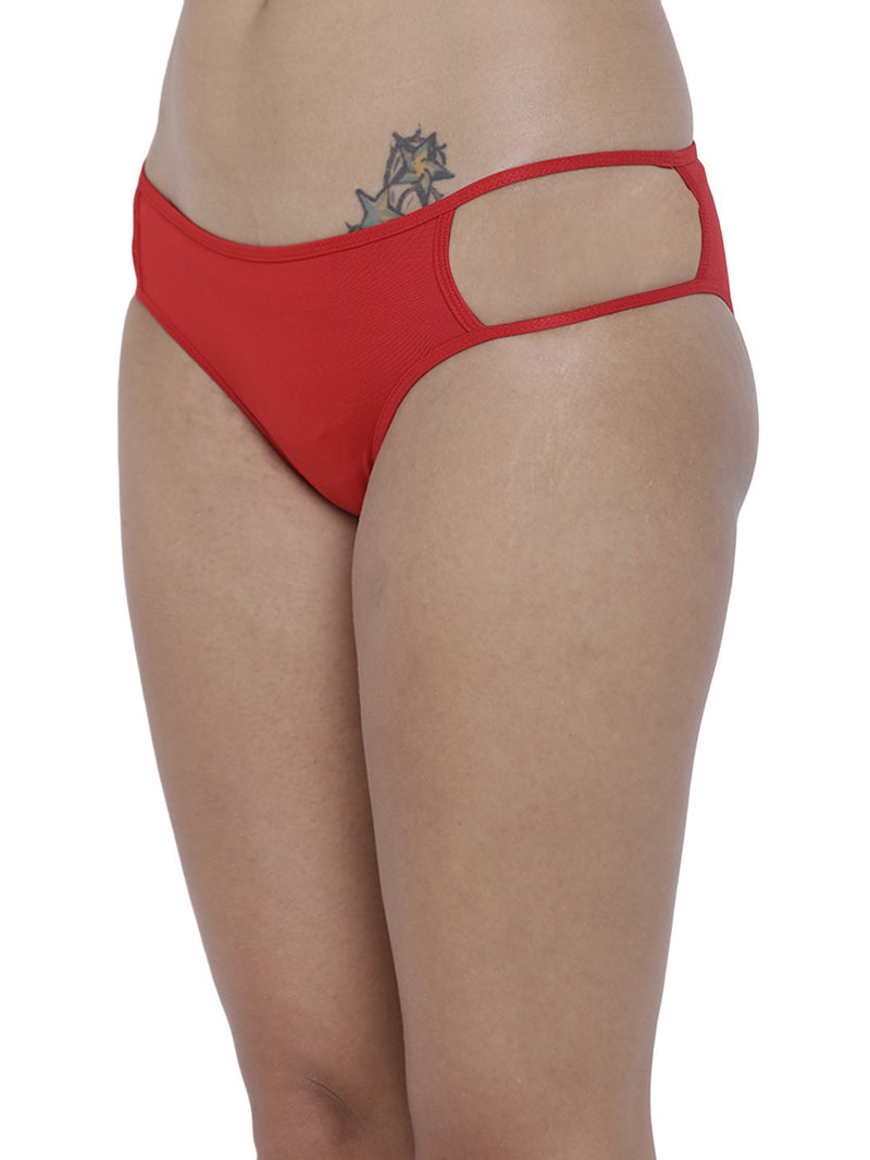 BASIICS Female Red Erótico Exotic Bikini Panty
