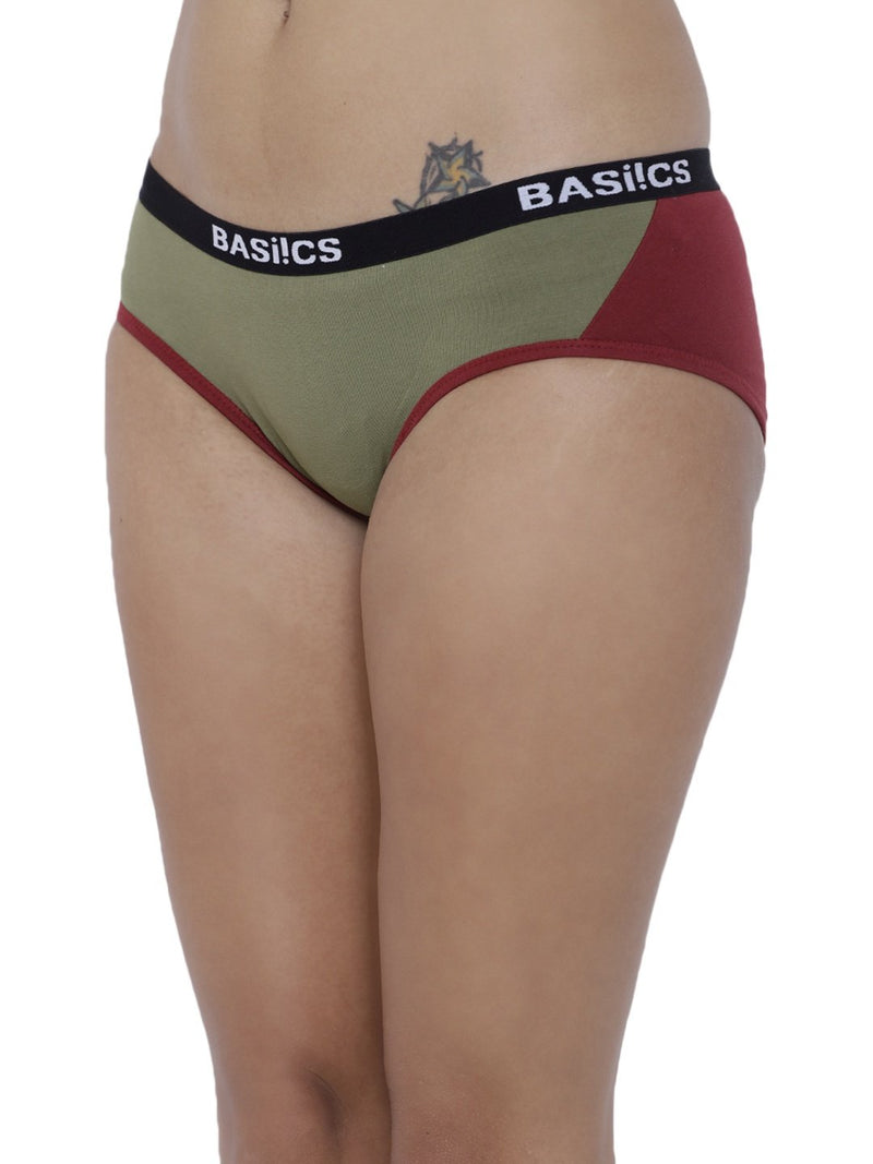 BASIICS Female Olive Picante Spicy  Hipster Panty
