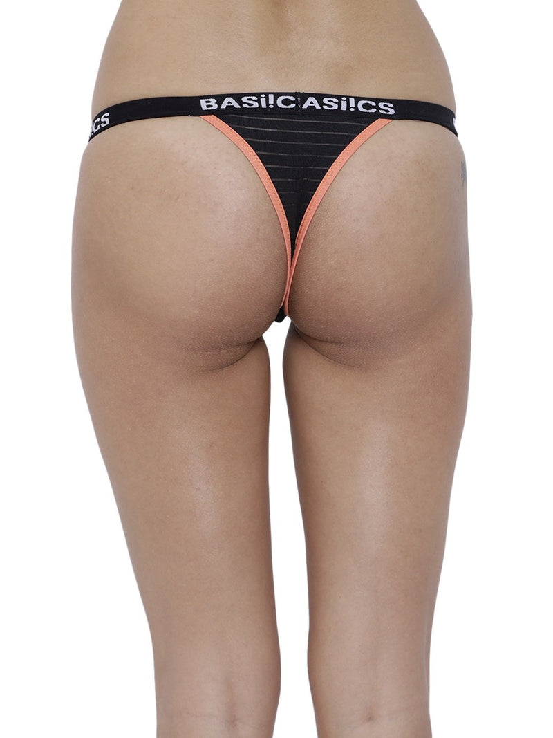 BASIICS Female Black Caliente Hot Thong Panty
