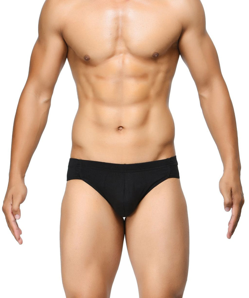 BASIICS Black Men Breathable Chic Cotton Spandex Briefs