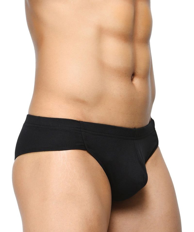 BASIICS Black Men Affordable Brief Cotton Spandex Briefs