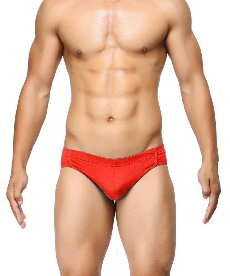 BASIICS Red Men Breathable Chic Cotton Spandex Briefs