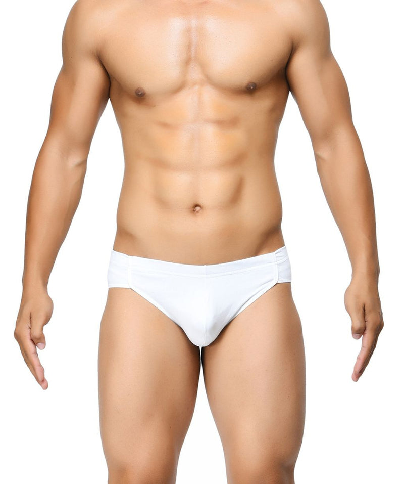 BASIICS White Men Breathable Chic Cotton Spandex Briefs