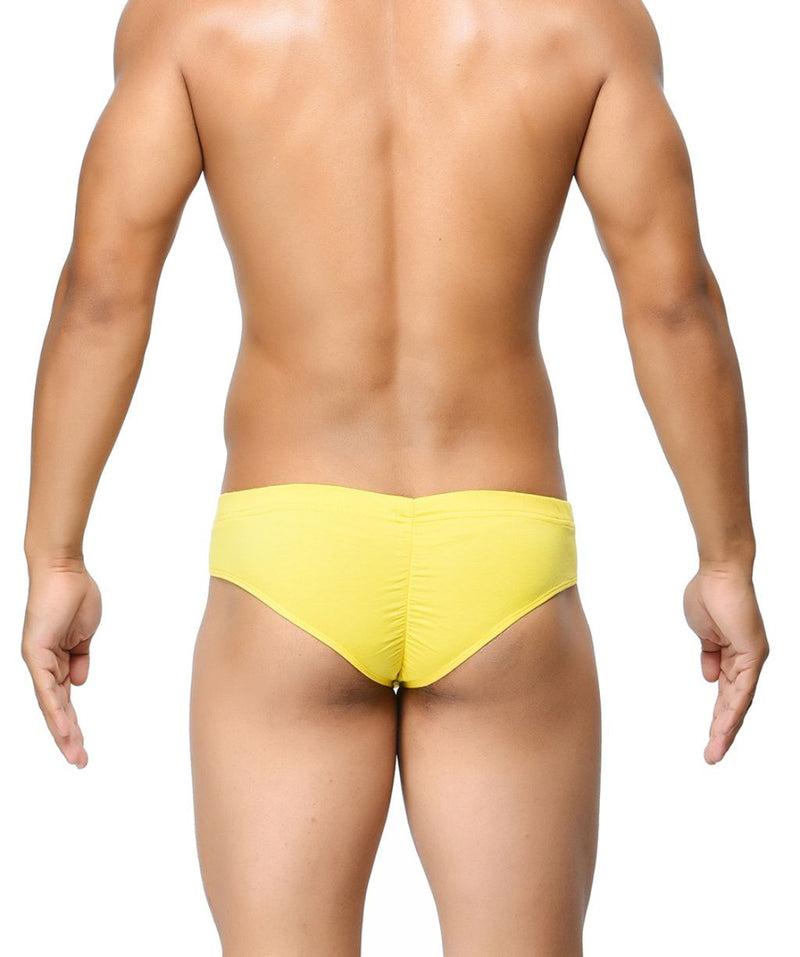 BASIICS Yellow Men Contoured Pouch Regular Cotton Spandex Briefs
