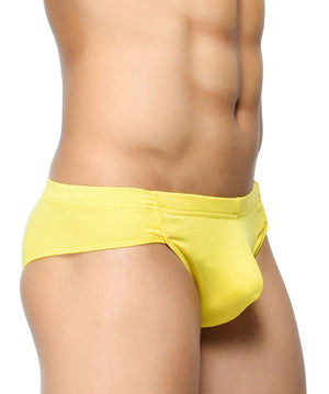 BASIICS Yellow Men Affordable Brief Cotton Spandex Briefs
