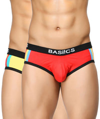 BASIICS Men Double Stripe Classic Cotton Spandex Briefs Pack of 2