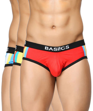 BASIICS Men Double Stripe Classic Cotton Spandex Briefs Pack of 3