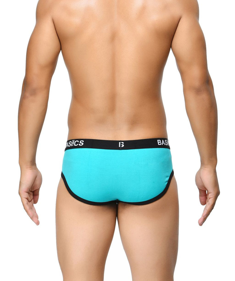 BASIICS Teal Men Contoured Pouch Regular Cotton Spandex Briefs