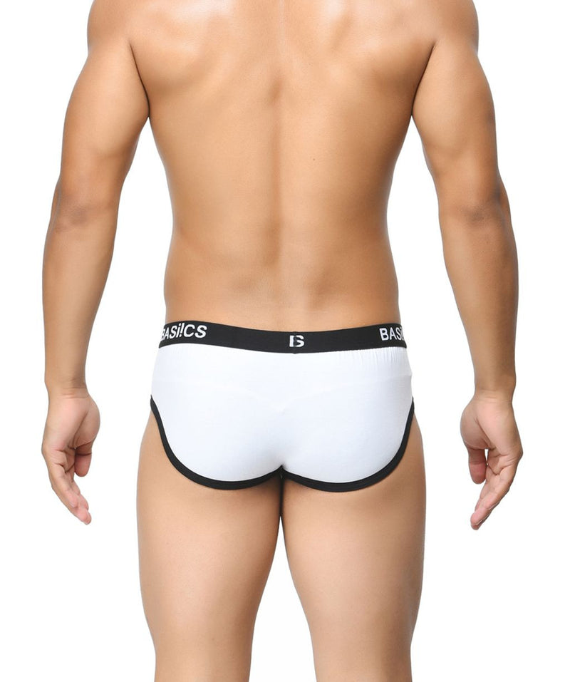 BASIICS White Men Contoured Pouch Regular Cotton Spandex Briefs
