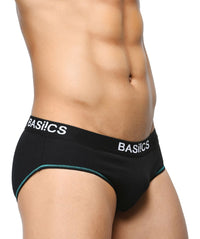 BASIICS Black Men Visible Stitch Brief Cotton Spandex Briefs