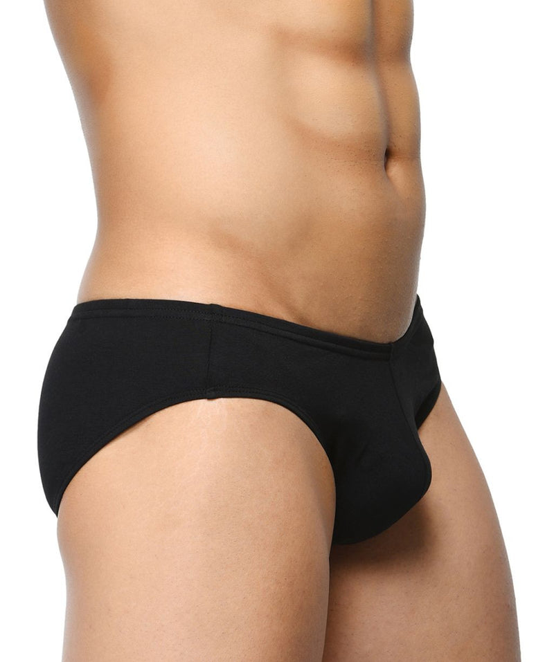 BASIICS Black Men Classic Brief Cotton Spandex Briefs