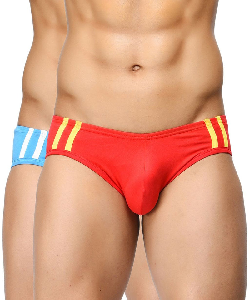 BASIICS Men Striped and Solid Fashion Cotton Spandex Briefs Pack of 2