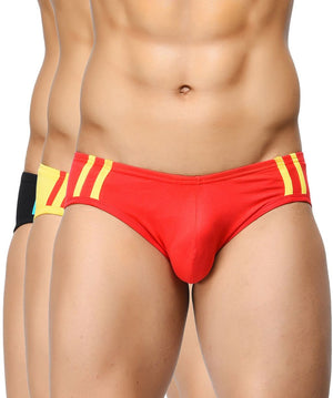 BASIICS Men Striped and Solid Fashion Cotton Spandex Briefs Pack of 3