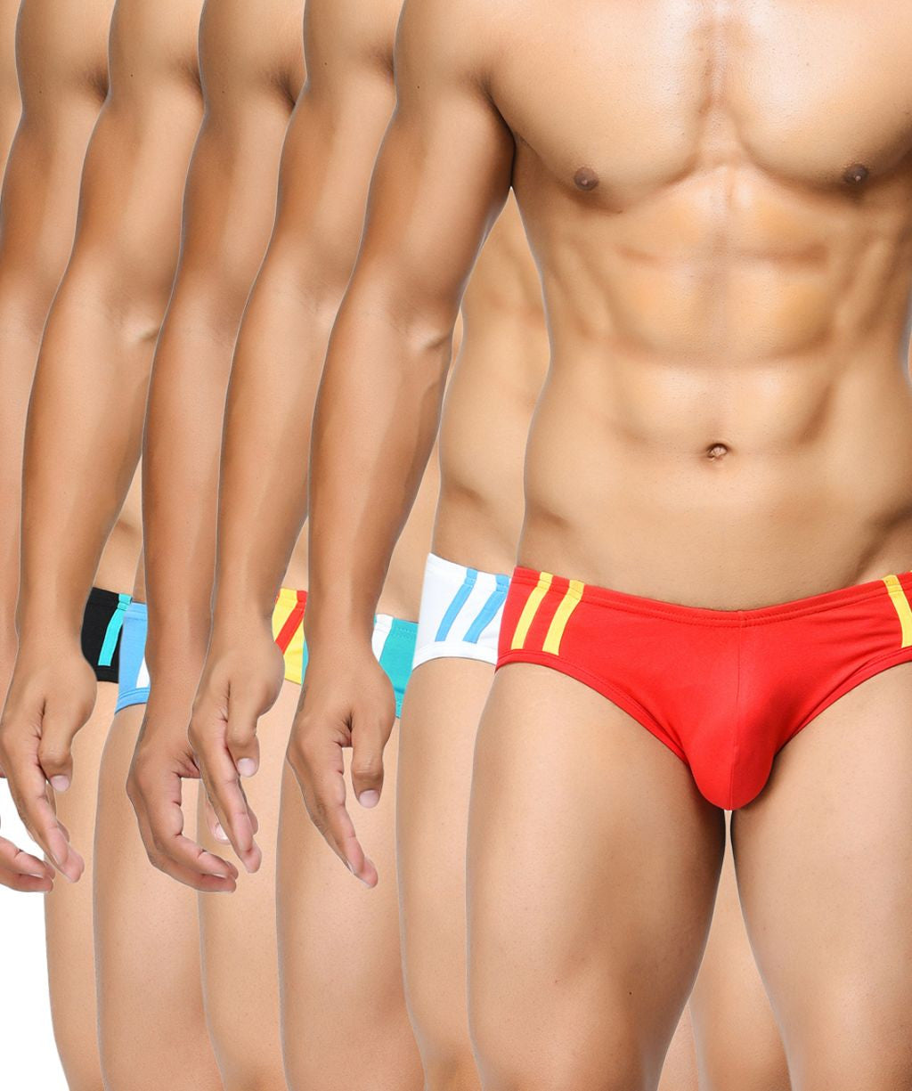 BASIICS Men Striped and Solid Fashion Cotton Spandex Briefs Multipack