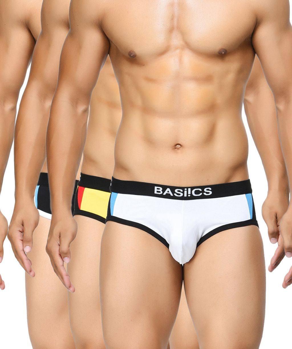 BASIICS Men Modern Pattern Cotton Spandex Briefs Pack of 3