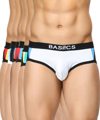 BASIICS Men Modern Pattern Cotton Spandex Briefs Multipack