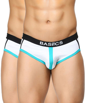 BASIICS Men Retro Style Cotton Spandex Briefs Pack of 2
